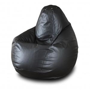 Кресло-мешок Черная кожа ( Экокожа )