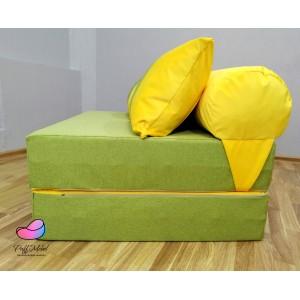 Диван трансформер Sofa Roll Long  Зелёный + жёлтый