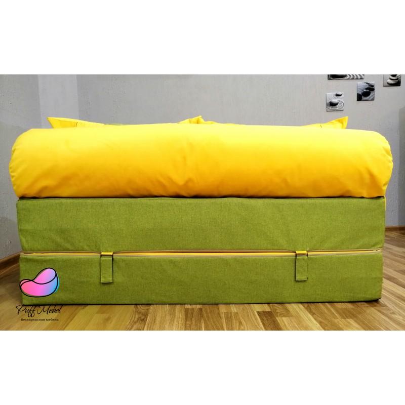 Диван трансформер Зелёный + жёлтый